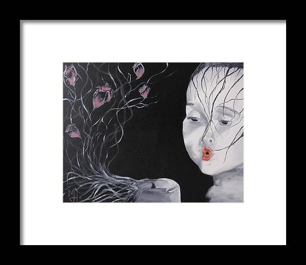 Girl Framed Print featuring the painting Delicate by Michael Holmes