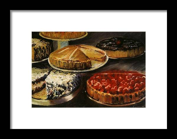 Still Life Food Dessert Pie Delicious Framed Print featuring the pastel Delicious Zero Calories by Pat Snook