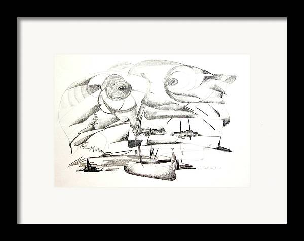 Abstract Framed Print featuring the drawing Delire by Muriel Dolemieux