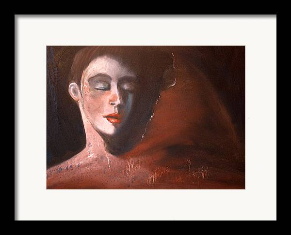 Portrait Girl Woman Red Earthtones Mystery Framed Print featuring the painting Delorous by Niki Sands