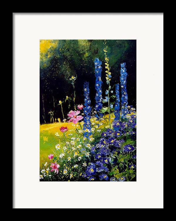 Poppies Framed Print featuring the painting Delphiniums by Pol Ledent
