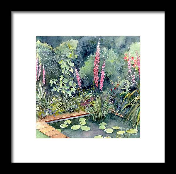 Gardenscape Framed Print featuring the painting Delphiniums by Val Stokes