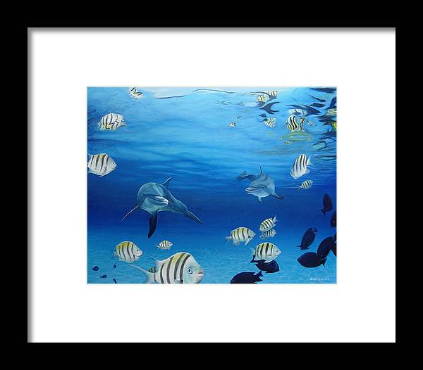 Seascape Framed Print featuring the painting Delphinus by Angel Ortiz