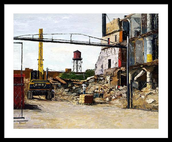 Cityscape Series Framed Print featuring the painting Demolition 4 by Nancy Albrecht