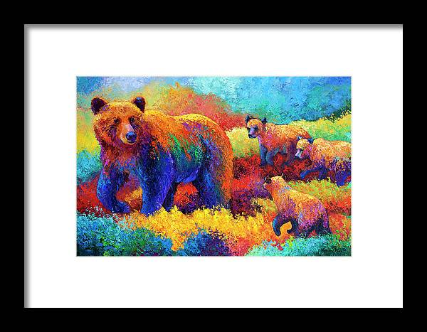 Bear Bears Framed Print featuring the painting Denali Family by Marion Rose