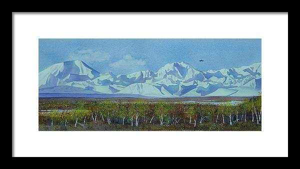 Denali Framed Print featuring the painting Denali Park Alaska by Teresa Boston