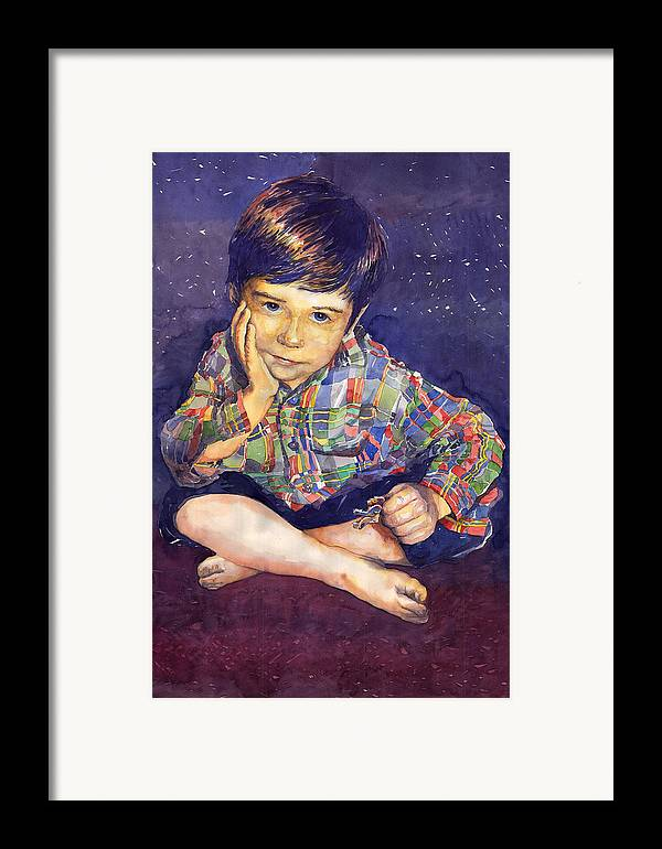 Watercolor Watercolour Portret Figurativ Realism People Commissioned Framed Print featuring the painting Denis 01 by Yuriy Shevchuk