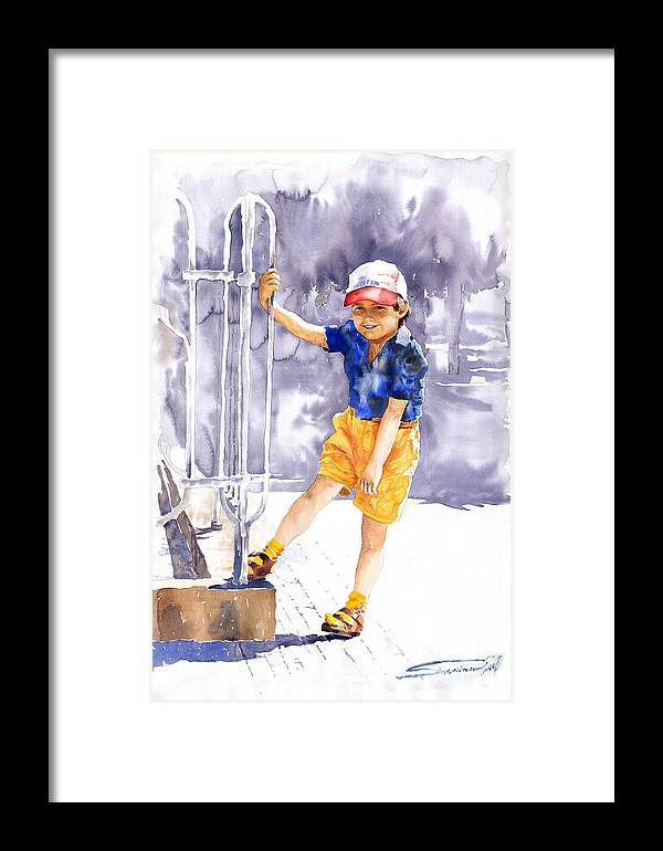 Watercolor Watercolour Figurativ Portret Framed Print featuring the painting Denis 02 by Yuriy Shevchuk