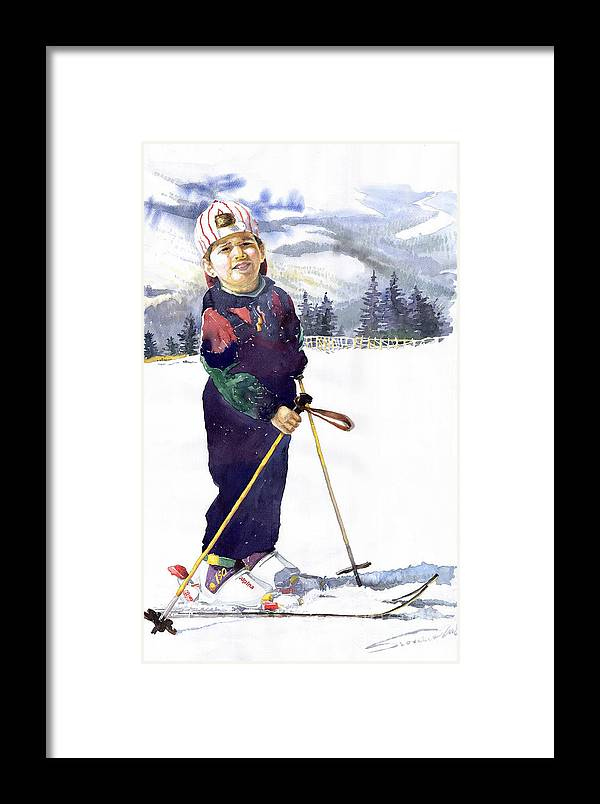 Watercolor Watercolour Figurative Ski Children Portret Realism Framed Print featuring the painting Denis 03 by Yuriy Shevchuk