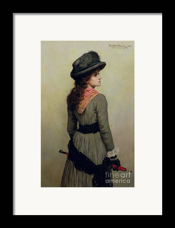 Hat Framed Print featuring the painting Denise by Herbert Schmalz