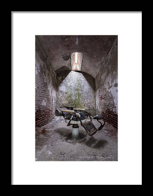 Eastern State Prison Framed Print featuring the photograph Dentist's Chair-eastern State by Eric Thacke