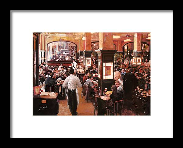 Coffee Shop Framed Print featuring the painting Dentro Il Caffe by Guido Borelli