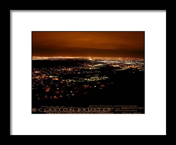 Clay Framed Print featuring the photograph Denver Area At Night From Lookout Mountain by Clayton Bruster