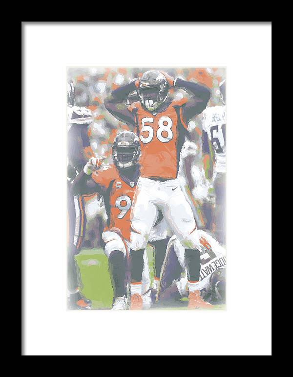 Denver Broncos Von Miller 3 Framed Print by Joe Hamilton