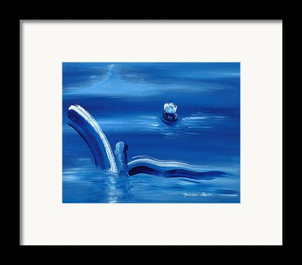 Abstract Framed Print featuring the painting Depart Vers Un Monde Inconnu by Dominique Boutaud