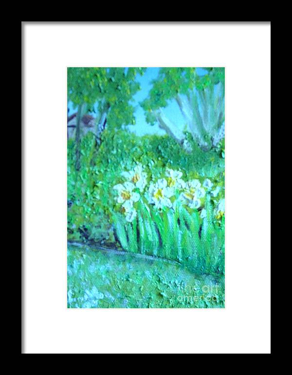 Daffodils Framed Print featuring the painting Dependable Daffodils by Laurie Morgan