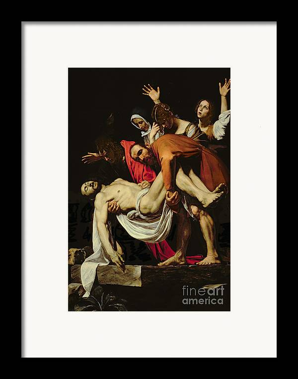 Deposition Framed Print featuring the painting Deposition by Michelangelo Merisi da Caravaggio