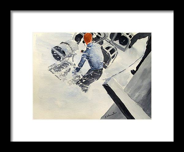 Navy Framed Print featuring the painting Depth Charge by Robert Thomaston