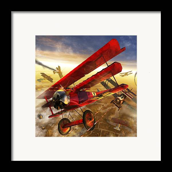 Bi Plane Framed Print featuring the digital art Der Rote Baron by Kurt Miller