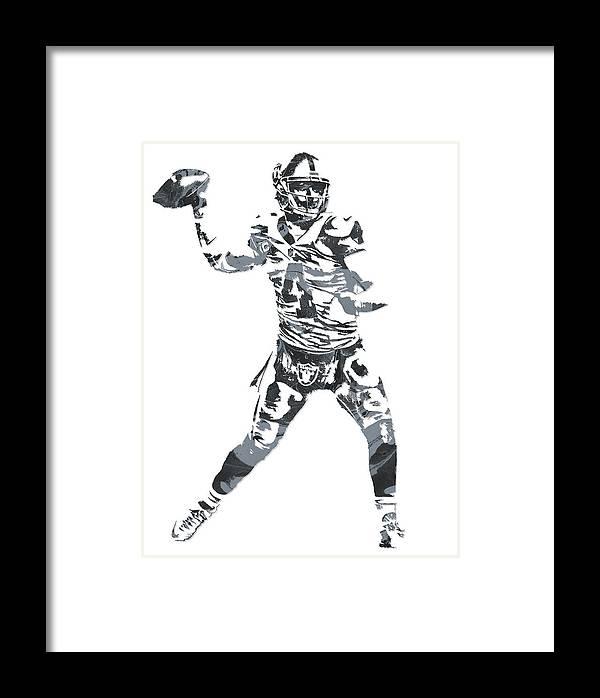 Derek Carr Framed Print featuring the mixed media Derek Carr Oakland Raiders Pixel Art 11 by Joe Hamilton