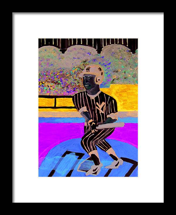 Derek Jeter Framed Print featuring the painting Derek Jeter by Jeff Caturano