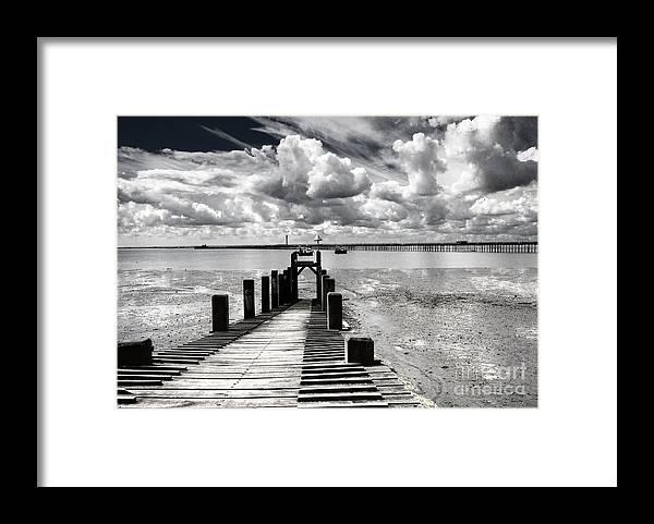 Wharf Southend Essex England Beach Sky Framed Print featuring the photograph Derelict Wharf by Sheila Smart Fine Art Photography