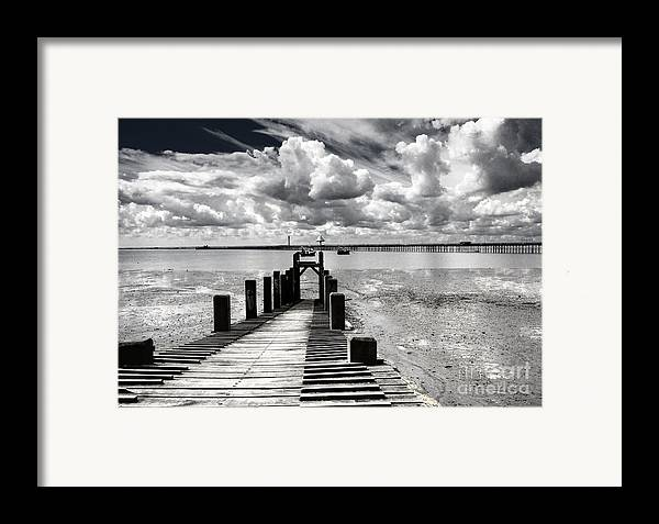 Wharf Southend Essex England Beach Sky Framed Print featuring the photograph Derelict Wharf by Sheila Smart Fine Art Photography
