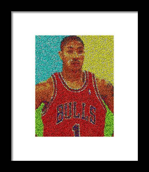 f76d4076f0c1 Chicago Framed Print featuring the mixed media Derrick Rose Skittles Mosaic  by Paul Van Scott