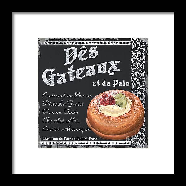 Cafe Framed Print featuring the painting Des Gateaux by Debbie DeWitt