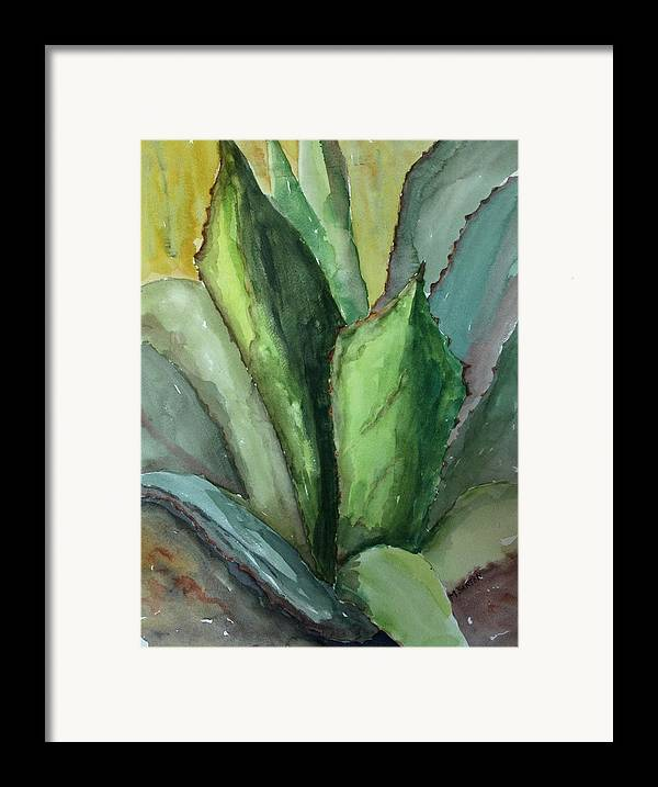 Cactus Framed Print featuring the painting Desert Agave by Marilyn Barton