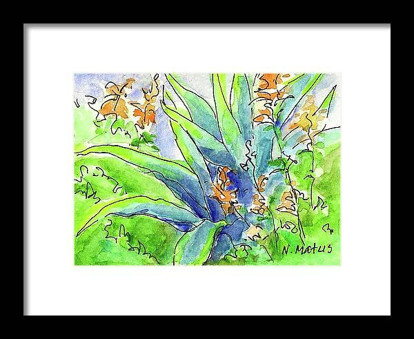 Desert Plants Framed Print featuring the painting Desert Blooms by Nancy Matus