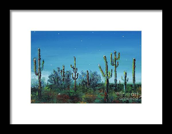 Desert Saguaro Catus In Bloom Framed Print featuring the painting Desert Blue by Frances Marino