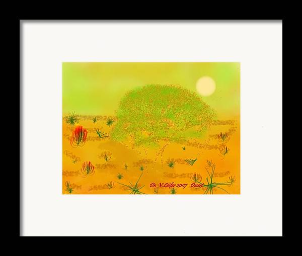Sky.heat.dust.sun.desert.bush.sand.prickles. Sandy Dunes.rest.silence. Framed Print featuring the digital art Desert by Dr Loifer Vladimir