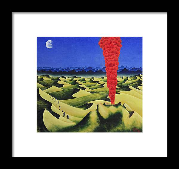 Desert Framed Print featuring the painting Desert Fire by Poul Costinsky