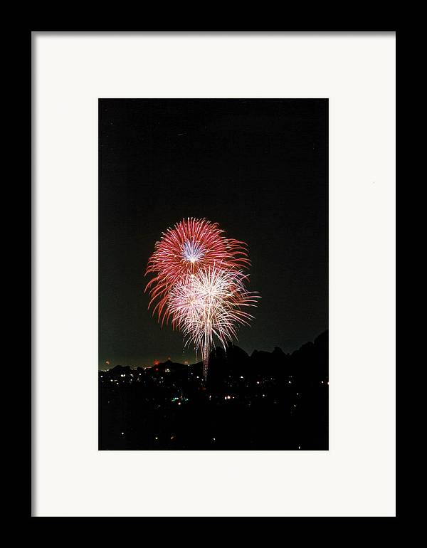Fireworks Framed Print featuring the photograph Desert Fireworks by Cathy Franklin