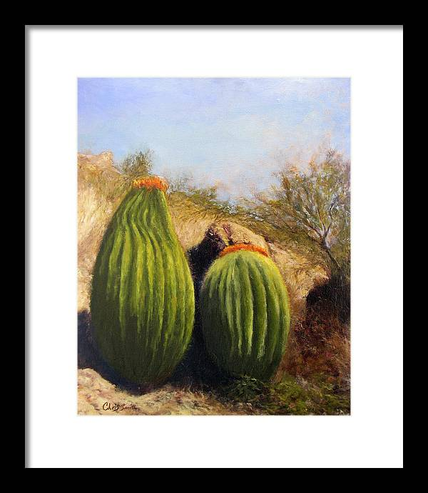 Cactus Framed Print featuring the painting Desert Friends by Chris Neil Smith