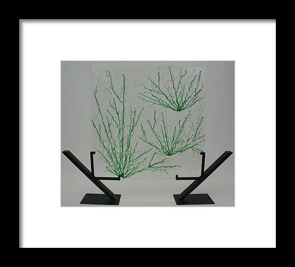 Fused Glass Green pale Green Desert Grass Network standing Art Stand Framed Print featuring the glass art Desert Grass by Louis Copper