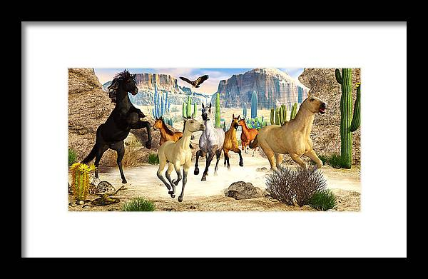 Horses Framed Print featuring the photograph Desert Horses by Peter J Sucy