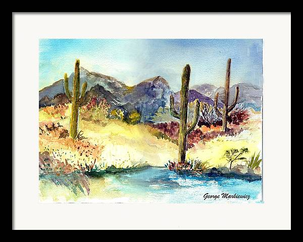 Desert Landscape Framed Print featuring the print Desert In The Morning by George Markiewicz