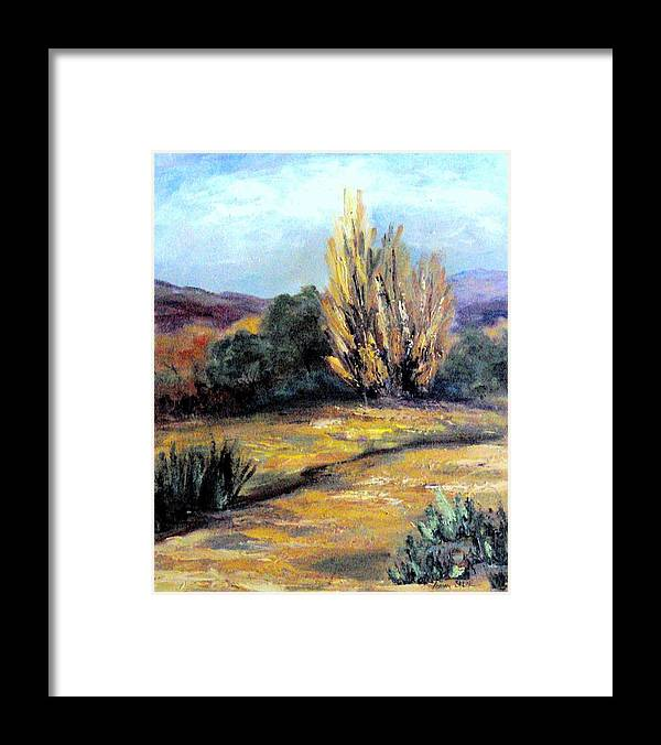 Landscape Framed Print featuring the painting Desert in the Springtime by Lorna Skeie