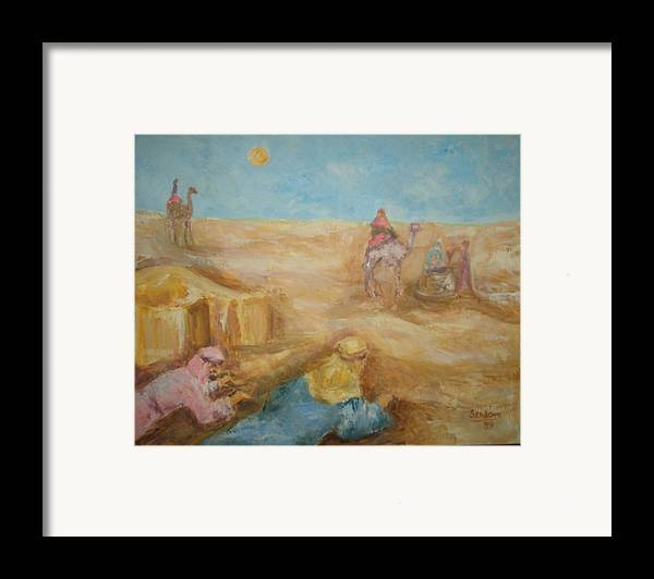 Landscape Camels Arabs Desert Animal Tents Framed Print featuring the painting Desert by Joseph Sandora Jr