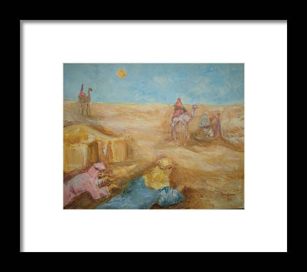 Landscape Camels Arabs Desert Animal Tents Framed Print featuring the painting Desert by Joseph Sandora Jr