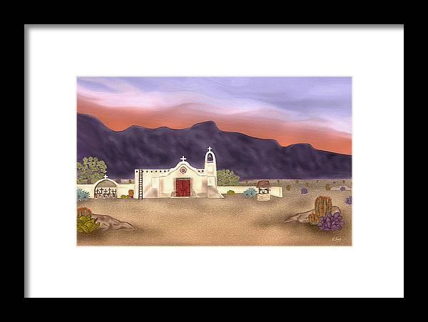 Southwestern Desert Landscape Christian Church Catholic Mission Cross Sunset Mountains Gordon Beck Framed Print featuring the painting Desert Mission by Gordon Beck