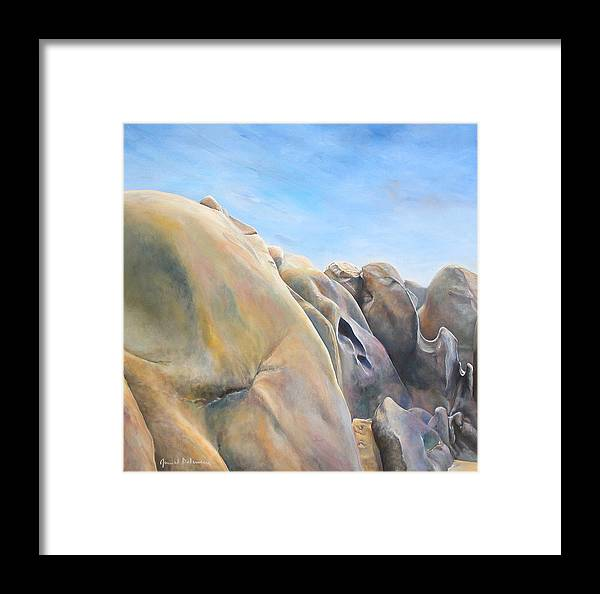 Landscape Framed Print featuring the painting Desert by Muriel Dolemieux