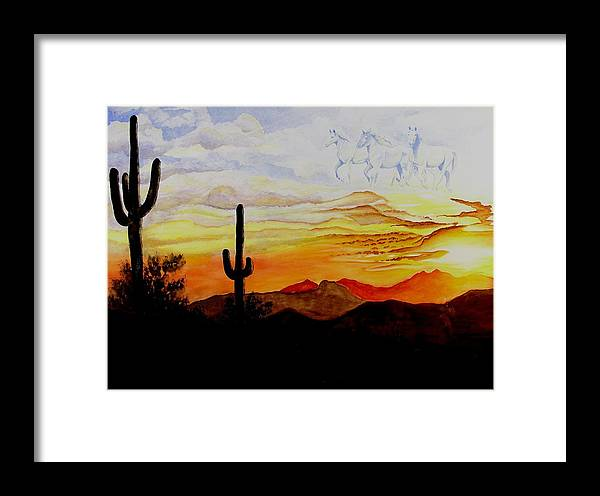 Horses Framed Print featuring the painting Desert Mustangs by Jimmy Smith