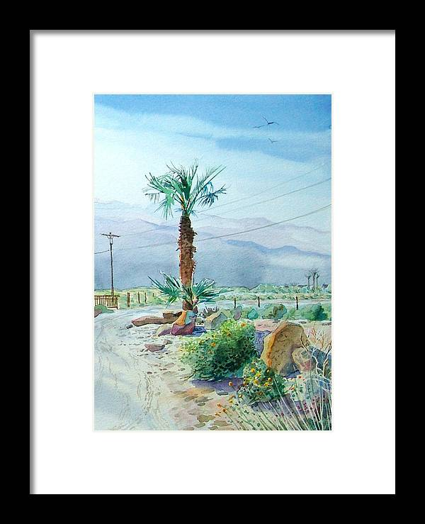 Watercolor Framed Print featuring the painting Desert Palm by John Norman Stewart