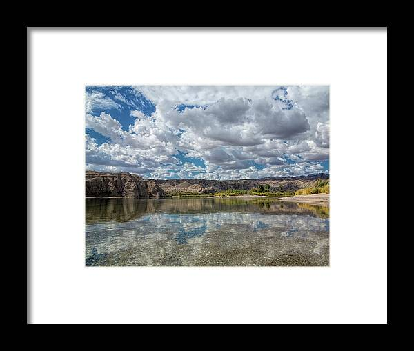 River Framed Print featuring the photograph Desert River Cloud Reflection by Barbara Eads