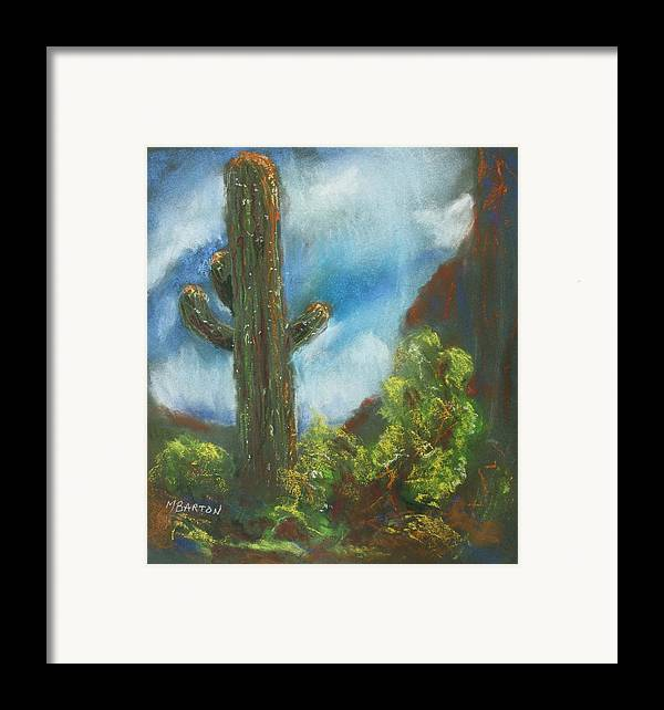 Cactus Framed Print featuring the painting Desert Sentinel by Marilyn Barton