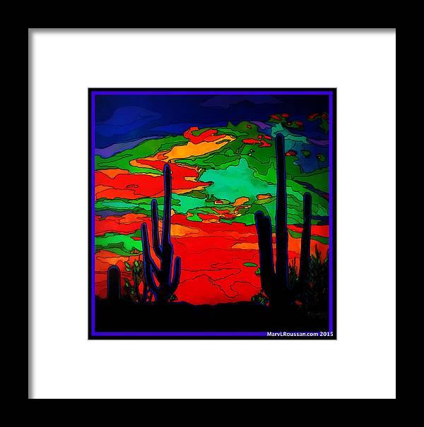 Desert Framed Print featuring the painting Desert Sky by MarvL Roussan