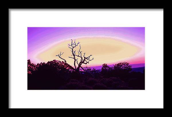 Desert Framed Print featuring the photograph Desert Sunset With Silhouetted Tree 2 by Steve Ohlsen